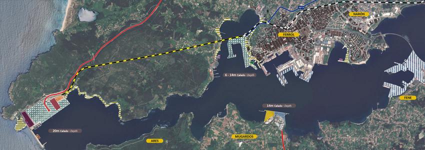 Imagen vista satélite de la zona de Ferrol, marcado con ubicaciones relevantes a la autoridad portuaria